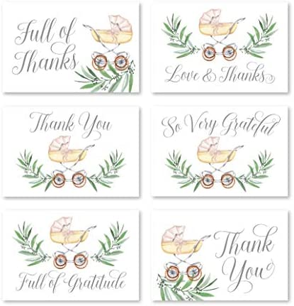 24 Carriage Baby Shower Thank You Cards With Envelopes, Boy or Girl Sprinkle Thank-You Note, 4×6 Gratitude Card Gift For Guest Pack, Gender Reveal DIY So Grateful Greenery Varied Event Stationery