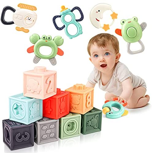 AUYYOSK Baby Soft Building Blocks & Rattles Teether Toys Baby Toys – Early Educational Toys Gifts Set for Babies Infants Toddlers 6 Months & Up 14PCS