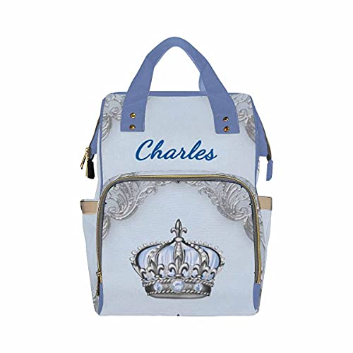 Custom Name Backpack, Crown and Jewels Personalized Diapering Bag Backpack Nappy Baby Bags Fashion Casual Daypack Travel Shoulder Bag for Teens Unisex Hiking Camping Work