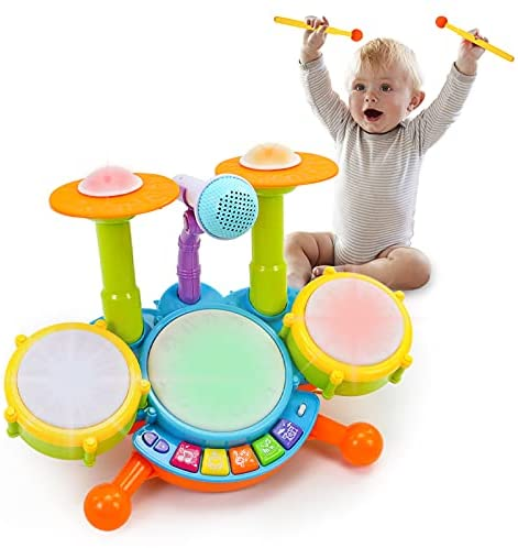 Fajiabao Baby Toys 12-18 Months Kids Drum Set Musical Toys for 1 2 3 Year Old Early Education Toys for Boys Girls Drum Set for Toddlers 1-3 with Microphone Light Music Birthday