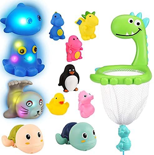 Inncen Bath Toys Bathtub Toys Playset for Toddlers Boys Girls, Wind Up Swimming Turtle Interactive Tub Toy Bath Water Spray Floating Tub and Pool Light Up Bath Toys, Dinosaur Net Scoop Basketball Hoop
