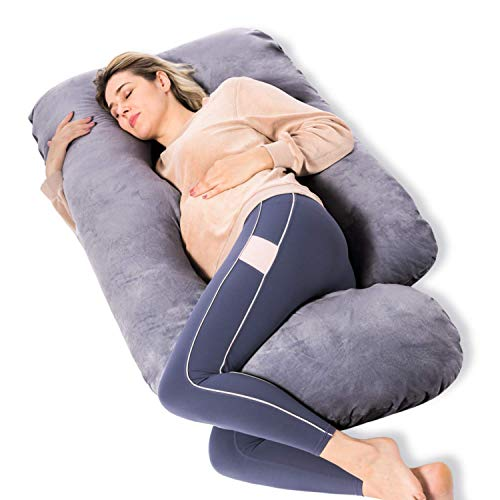 Momcozy Pregnancy Pillows, U Shaped Full Body Maternity Pillow with Removable Cover, 57 Inch Pregnancy Pillows for Sleeping, Grey