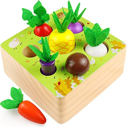 Montessori Toys for Toddlers 1 2 Year Old Boys Girls, Wooden Baby Toys Farm Harvest Game, Educational Fine Motor Skills Toys for Ages 1-3, Shape Sorting & Counting Puzzle, 7 Sizes Vegetable or Fruit