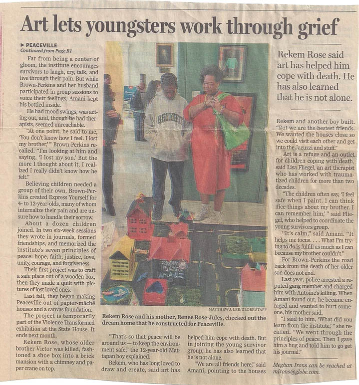 """Boston Globe: """"Art Helps Youngsters Cope with Violent Loss"""""""