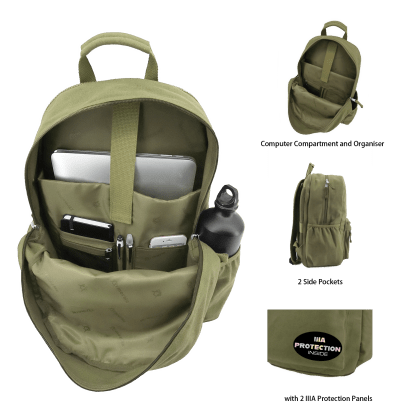 ArmorMe Double Bullet-resistant Panels Backpack green open