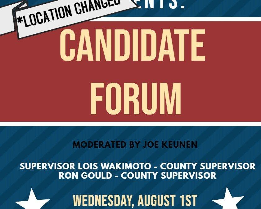 Candidate Forum, Wednesday!