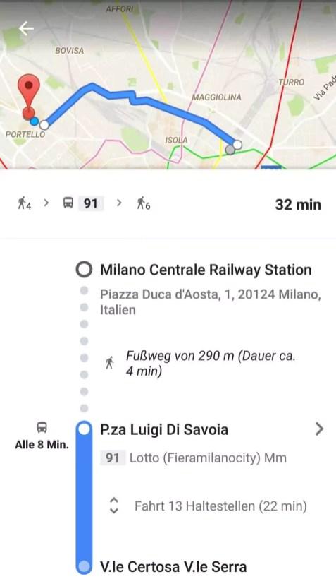 Beispiel Mailand Nahverkehr Google maps