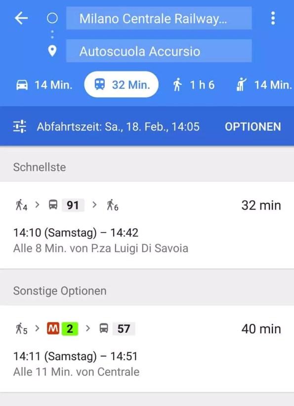 Beispiel Nahverkehr Mailand ab Hauptbahnhof