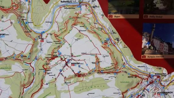 Karte kleine luxemburger Schweiz Wanderwege