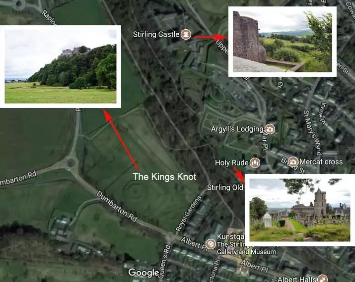 Karte STirling Kings Knot, Stirling Castle, Holy Rude