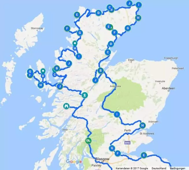Übersicht Route Roadtrip VW-Bus Schottland