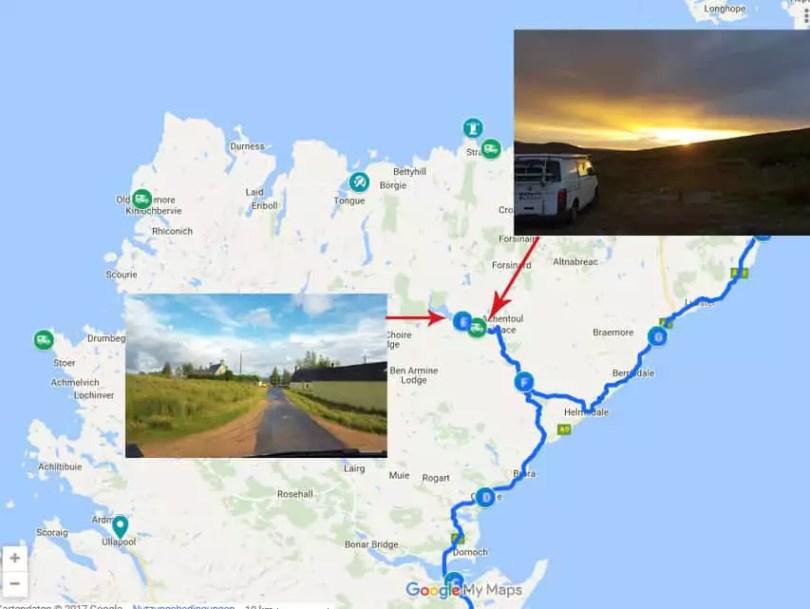 mit dem VW-Bus durch Schottland - Streckenabschnit Highlands mit Übernachtung