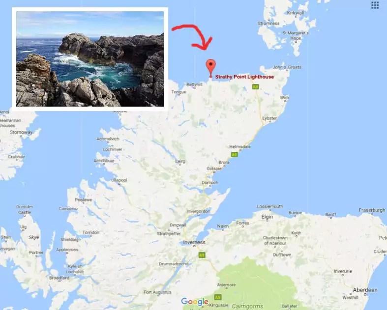 Karte Rundreise Schottland Strathy Point