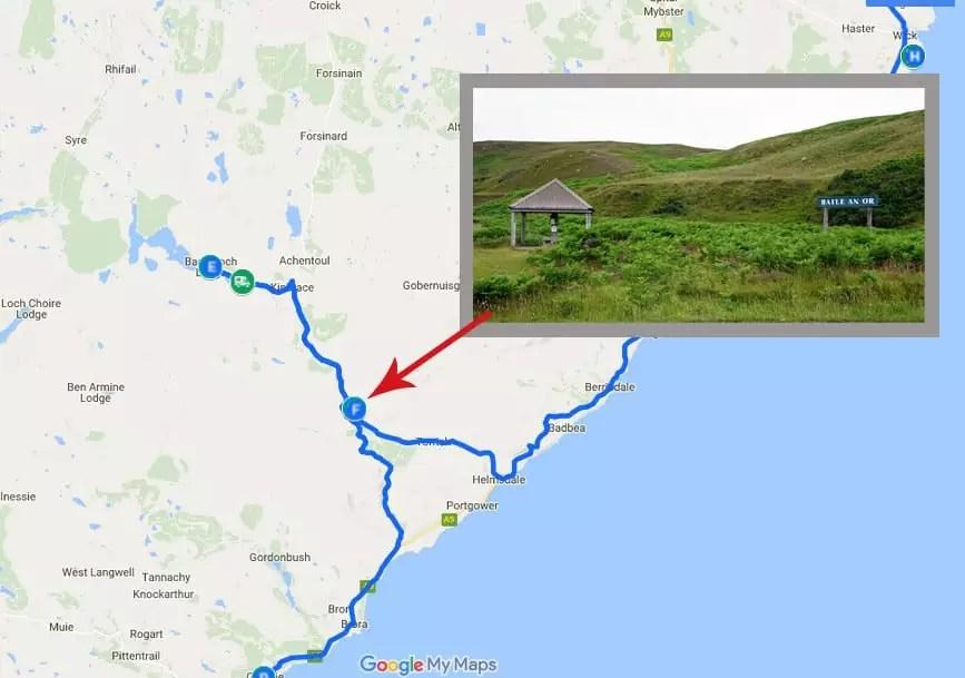 Goldgräberstimmung in den Highlands - Kildonan Burn - Karte - Roadtrip mit dem VW-Bus