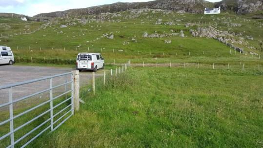 Parkplatz Übernachtung VW-Bus CamperVan Oldshoremore Schottland