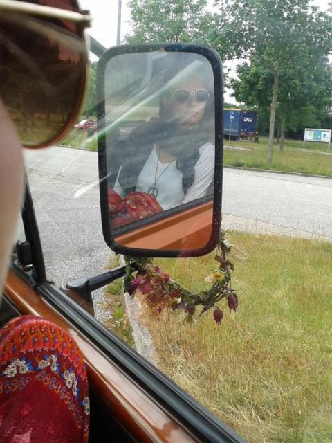 VW Bus Portrait im Spiegel