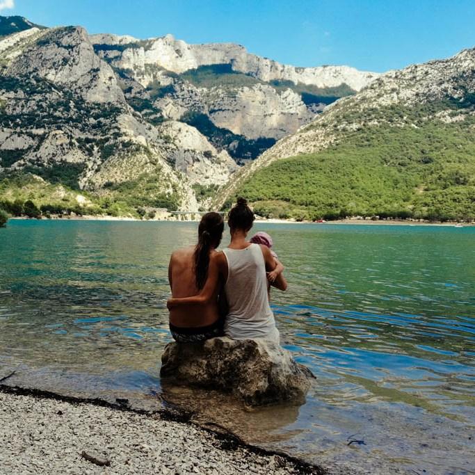 Frankreich Baden im Lac de Saint Croix