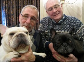 Stanley Zirlin, Bill Schaefer and show Frenchies Rocky and Oliver