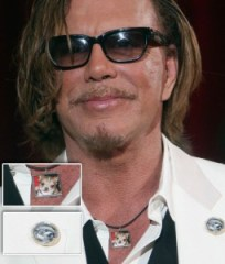 Mickey Rourke with Custom Chihuahua Necklace and Pin