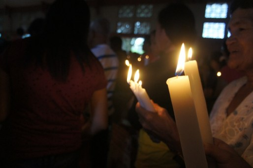 Traditional colored candles for blessing.