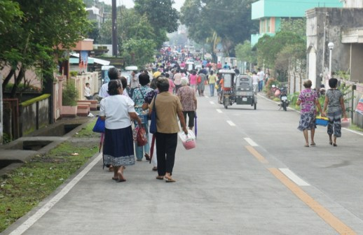 Street view of parishioners after the mass.