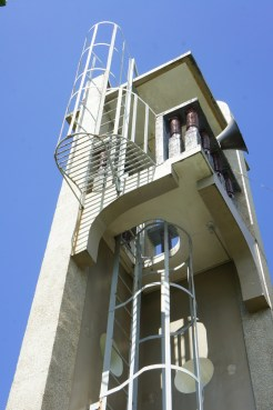 Compact belfry top with view deck.