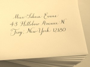 Copperplate style, grey ink