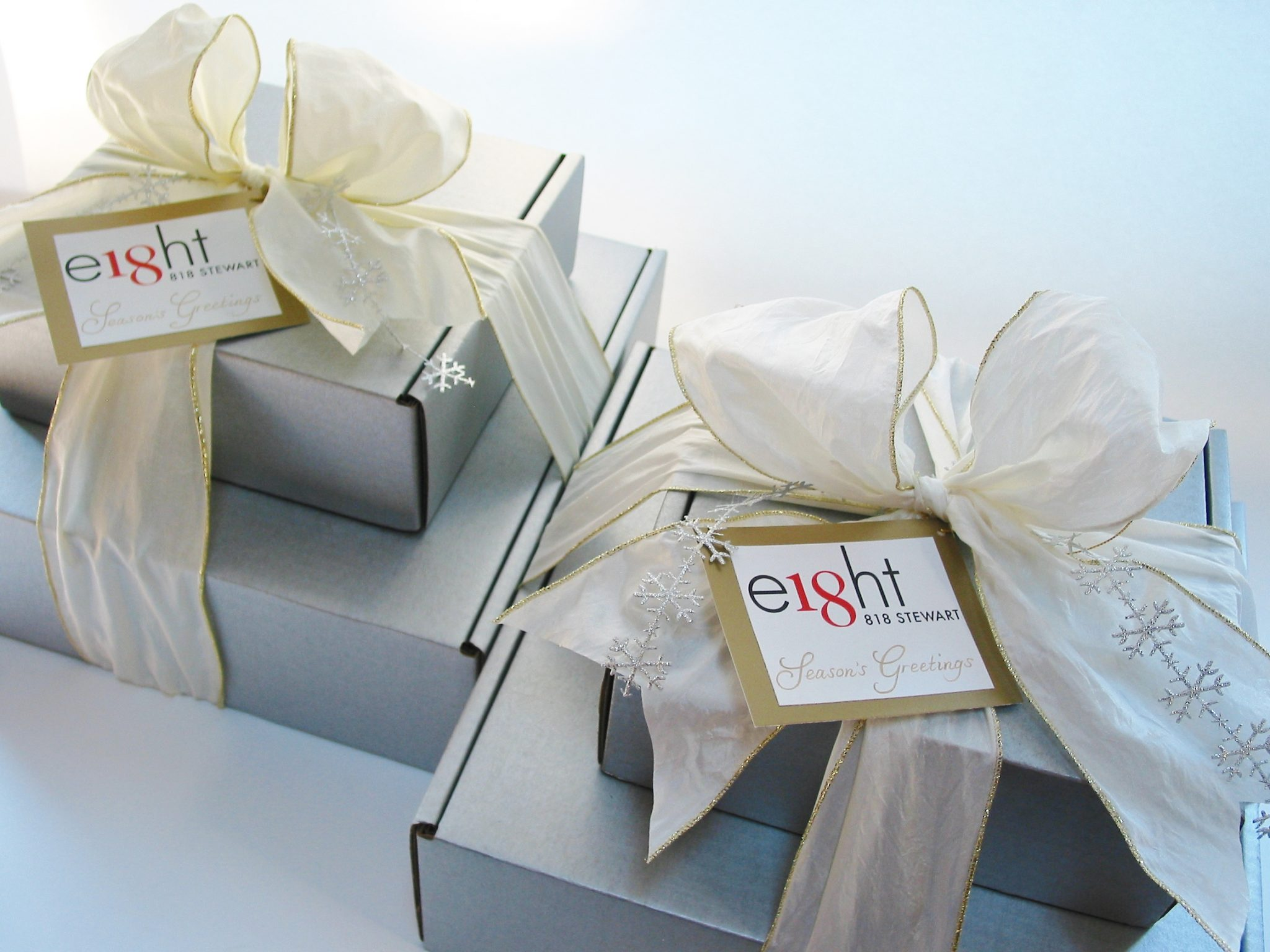 bumble B design's Custom Corporate Holiday Gift Towers