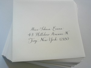 Copperplate calligraphy in grey ink