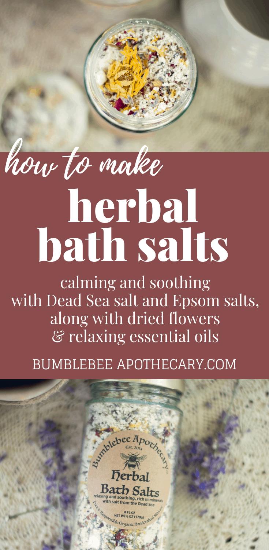 Herbal bath salts recipe | calming and soothing with Dead Sea salt, epsom salt, dried flowers and relaxing essential oils #bathsalts #herbs #relax #metime
