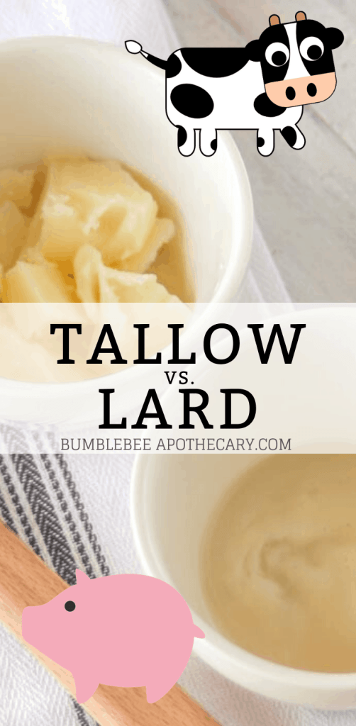 This is the ultimate guide to tallow vs. lard. Find out all the facts, which one to choose for cooking and skincare, and more! #tallow #lard #cooking #skincare #primal #wapf