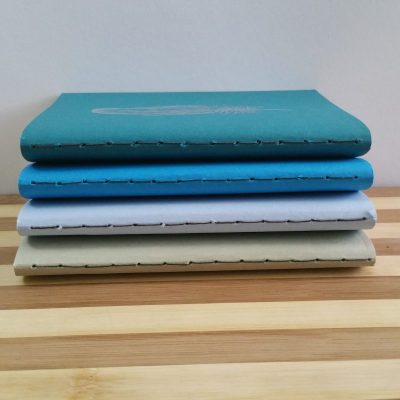 Four pocket books in different colours, with their sewn spines facing the camera