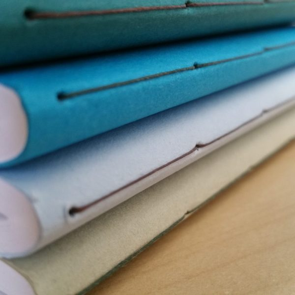 Closeup of the stitching on a stack of four pocket books