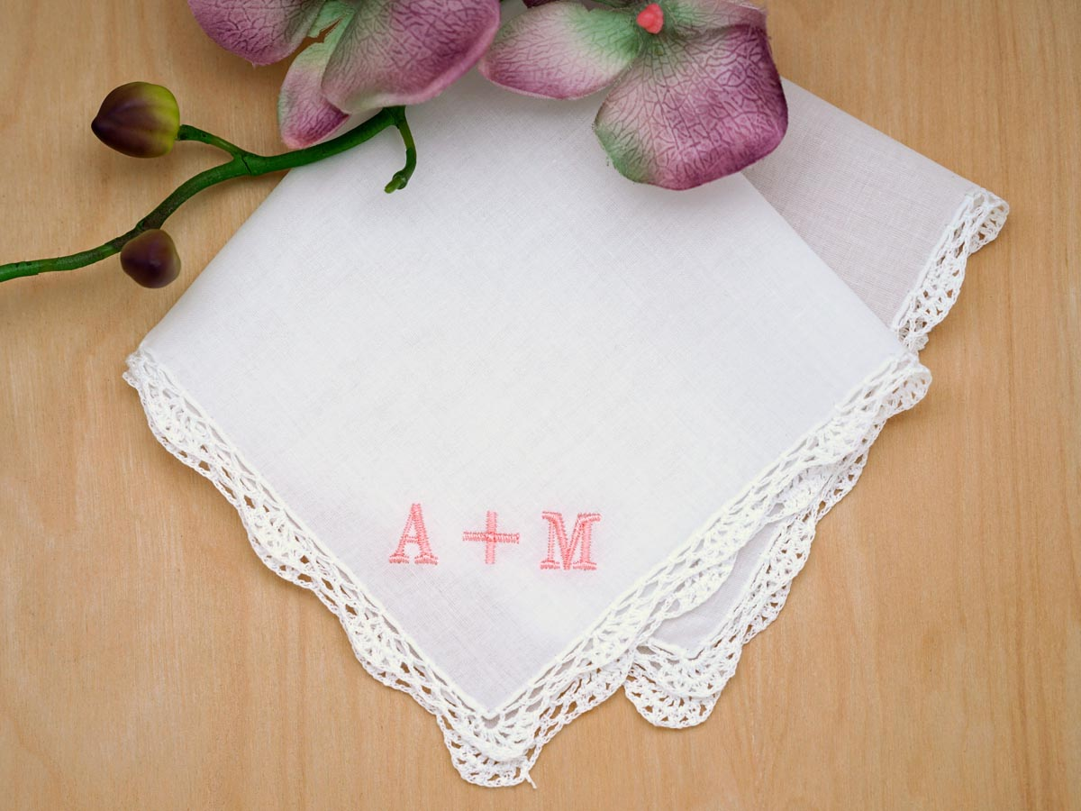 Monogrammed Couples Ladies Handkerchief Font R