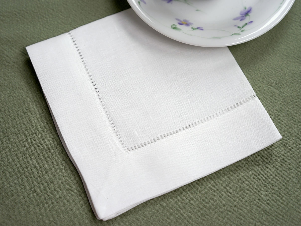 1 Dozen White Wide Hemstitched Linen Tea Napkins 12 Inch