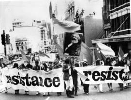 Resistance Contingent n demo heading up George St. Sydney
