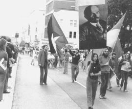Sydney May Day 1972. John Percy, Sue Stretton and Rod Webb.