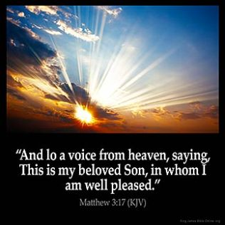 Matthew_3-17-1: And lo a voice from heaven, saying, This is my beloved Son, in whom I am well pleased