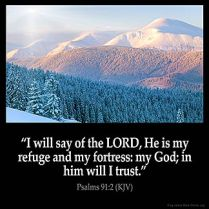 Psalms_91-2: I will say of the LORD, He is my refuge and my fortress: my God; in him will I trust