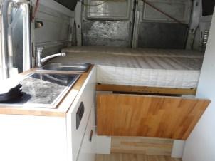 Bett im aufgebauten Zustand