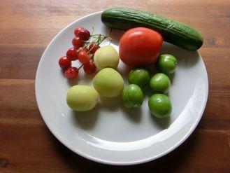 Als ob es nicht genug wäre bekommen wir neben Sonnenblumenkernen und Erdbeeren noch mehr Obst und Gemüse geschenkt