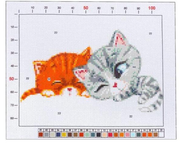 Канва для вышивания с рисунком «Котята»