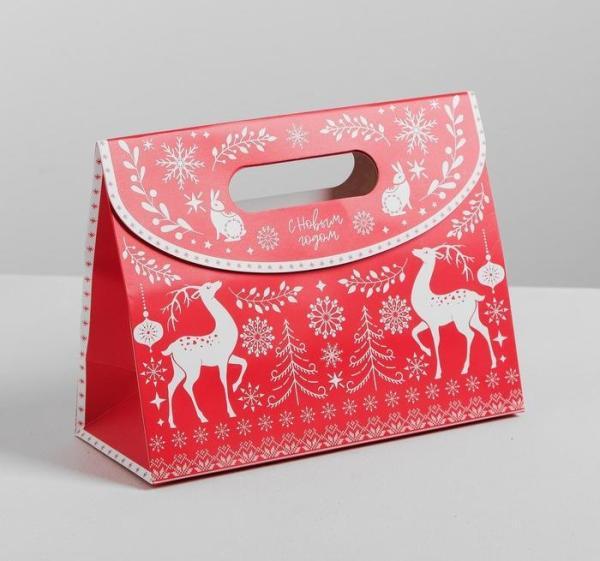 Пакет-коробка с клапаном «Новый год»