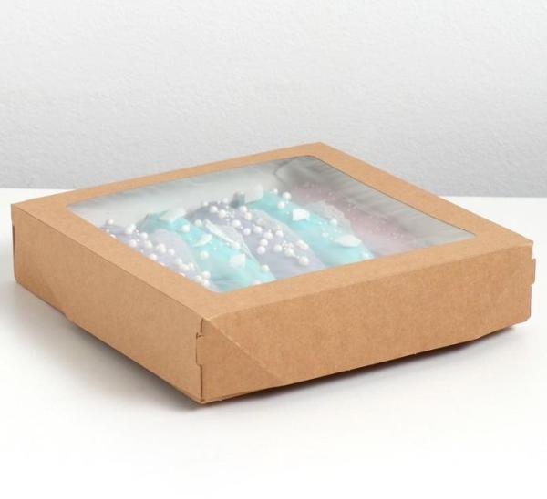 Коробка крафт с окном 20 х 20 х 4 см