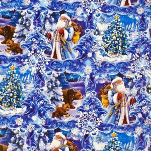 Бумага упаковочная глянцевая «Дедушка Мороз в лесу»