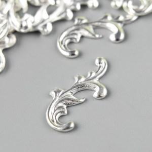 Декор для скрапбукинг «Завитки», цвет серебро
