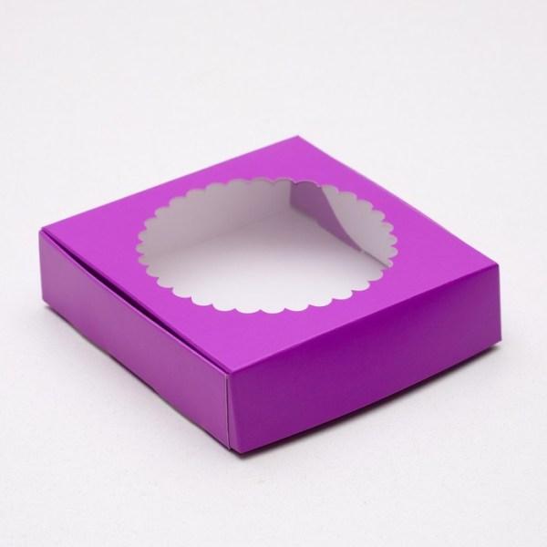 Подарочная коробка, с прозрачной крышкой, фиолетовая