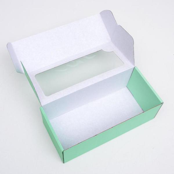 Коробка самосборная, с окном, мятная