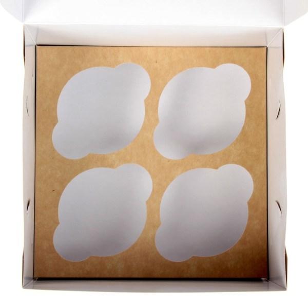Упаковка для капкейков с окном на 4 шт, крафт 16 х 16 х 10 см