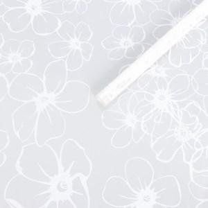 """Плёнка для цветов """"Лепестки белые"""", 0,7 х 7,5 м, 40 мкм, 200 гр"""